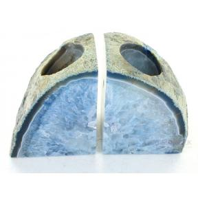 Agate, Blue Book End Candle Holder - 1