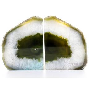 Agate, Green Book End Candle Holder