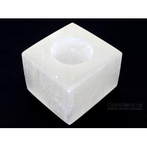 Selenite Cube Candle Holder