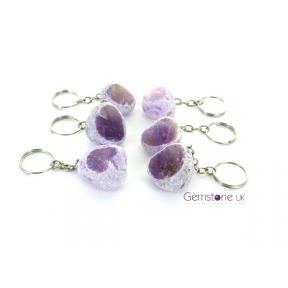 Amethyst Dragons Egg Keyrings (6 Pack)