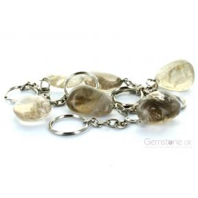 Smokey Quartz Tumblestone Keyrings (6 Pack)