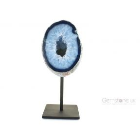 Agate Geode, Blue On Metal Stand - Medium