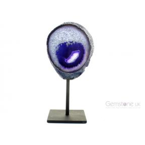 Agate Geode, Purple On Metal Stand - Medium