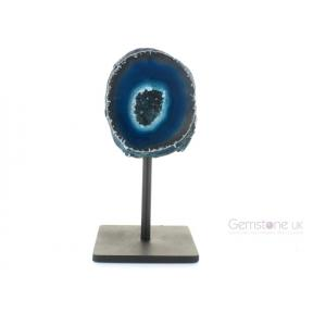 Agate Geode, Teal On Metal Stand - Small