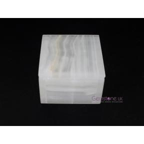 Aragonite White Medium Square Box