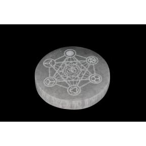 Selenite Round Slice Metatron & OM