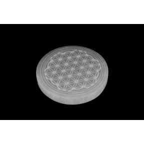 Selenite Round Slice Etched Flower Of Life