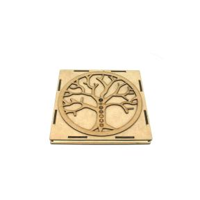 Mixed Crystal Engraved Chakra Disc Set - Tree Of Life Symbol Box
