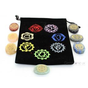 Engraved Palmstone Chakra Set In Pouch