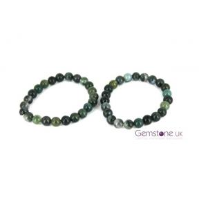 Agate Moss Bead 8mm Bracelet 2 Pack