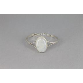 Moonstone,  Rainbow  .925 Adjustable Bangle