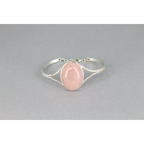 Rose Quartz .925 Adjustable Bangle