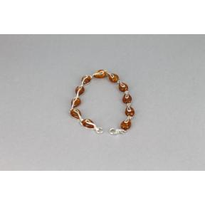 Amber Teardrop and Silver Mount .925 Bracelet