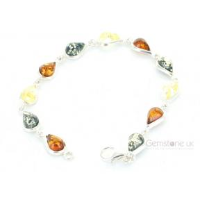 Amber Multi-coloured Teardrop .925 Bracelet