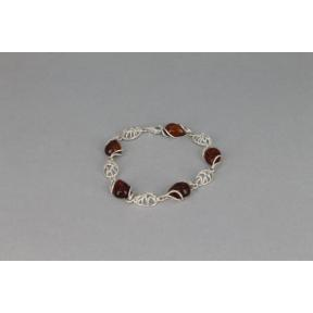 Amber Teardrop and Silver Teardrop Dome .925 Bracelet