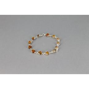 Amber and Silver Ladybird .925 Bracelet