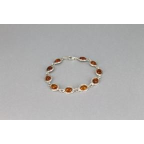 Amber and Silver Oval .925 Bracelet