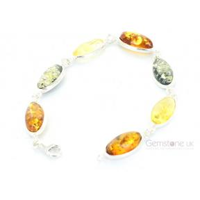 Amber Multi-coloured Oval .925 Bracelet
