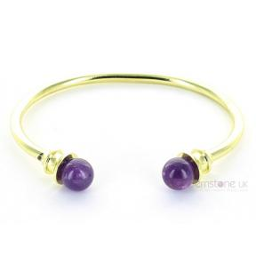 Amethyst Brass Bangle