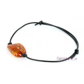 Amber Tumblestone Leather Bracelet