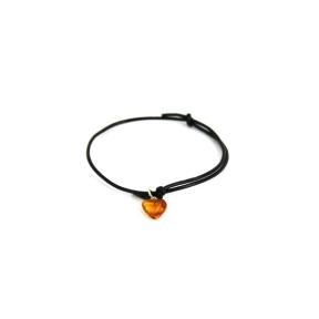 Amber Heart Leather Bracelet