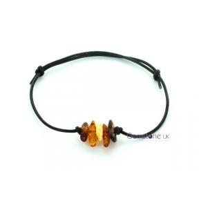 Amber Multi Tumblestone Leather Bracelet