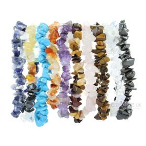Mixed Crystal Stone Chip Bracelets (10 Pack)