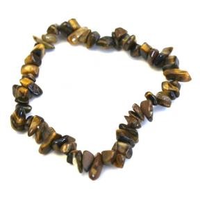 Tiger Eye, Gold Stone Chip Bracelets (10 Pack)