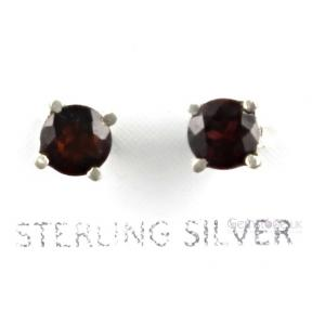 Garnet Faceted Round .925 6mm Stud Earring