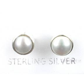 Pearl Faceted Round .925 6mm Stud Earring