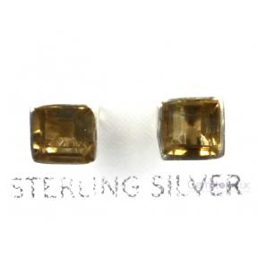 Citrine Faceted Square .925 5mm Stud Earring