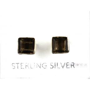 Smokey Quartz Faceted Square .925 5mm Stud Earring