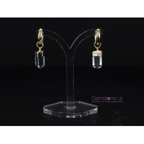 Quartz Point Gold Plated Hoop Earrings