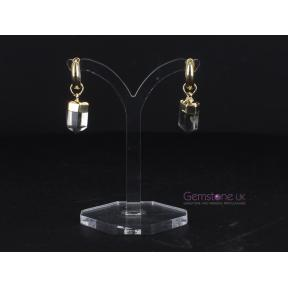 Smokey Quartz Point Gold Plated Hoop Earrings