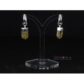 Citrine Point Silver Plated Hoop Earrings