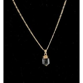 Quartz Mini Polished Point Gold Plated Necklace