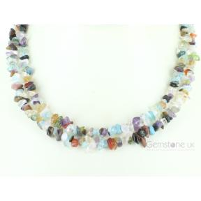 Mixed Crystal Stone Chip Necklace 36