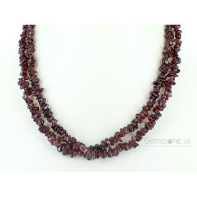 Garnet, Almandine Stone Chip Necklace 36