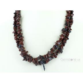 Obsidian, Mahogany Stone Chip Necklace 36