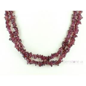 Garnet, Pink Stone Chip Necklace 36