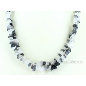 Quartz, Tourminalated Stone Chip Necklace 36