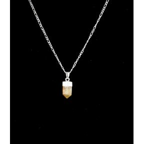 Citrine Mini Polished Point Silver Plated Necklace