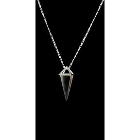 Smokey Quartz Pyramid Silver Plated Necklace