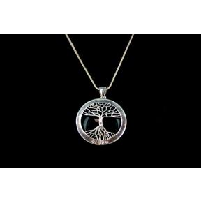 Black Obsidian Tree of Life Silver Plated Necklace