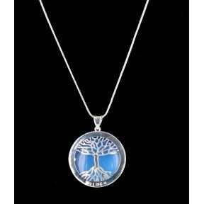 Opalite Tree of Life Silver Plated Necklace