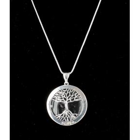 Quartz Tree Of Life Silver Plated Necklace