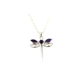 Amethyst .925 Dragon Fly Pendant
