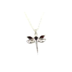 Garnet .925 Dragon Fly Pendant