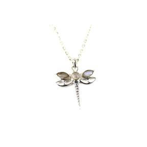 Moonstone, Rainbow .925 Dragon Fly Pendant