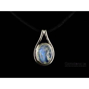 Moonstone, Rainbow .925 Oval Mount Pendant